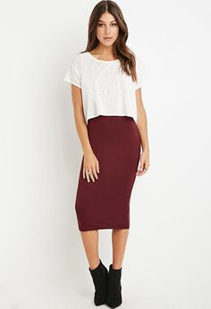 Contemporary Classic Midi Pencil Skirt Burgundy Midi Skirt by Forever 21