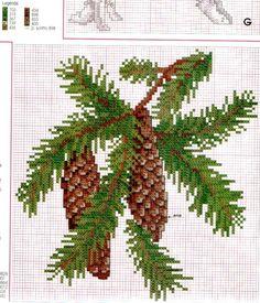 Cross Stitch Pattern Maker, Cross Stitch Charts, Cross Stitch Patterns, Cross Stitch Fruit, Cross Stitch Flowers, Hand Embroidery Art, Cross Stitch Embroidery, Pine Cone Drawing, Beaded Cross