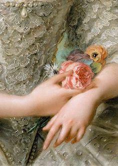 Jean-Marc Nattier. Portrait of Isabella of Parma, 1758 #Art #Detail