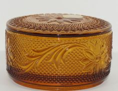 "Amber ""Sandwich"" pattern Lidded Bowl/Box made by Indiana Glass Co. for Tiara between 1982-1991, 3.75""D x 2""H"