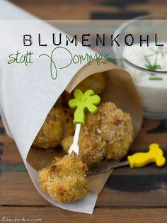 Blumenkohl statt Pommes! gebackener Blumenkohl mit Joghurtdip!