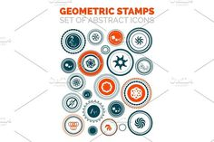 Set of vector abstract geometric stamp icons. Premium Icons
