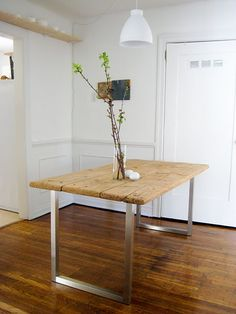 The Diversion Project: DIY his broken down table had the top salvaged and stuck on a set of legs from IKEA. Always a fan of vintage timber meets clean steel