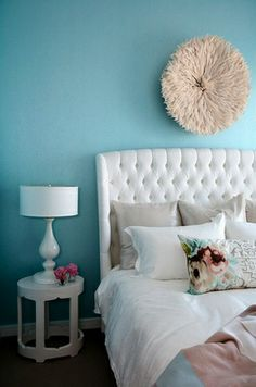 Tiffany Blue bedroom -- love the walls and headboard