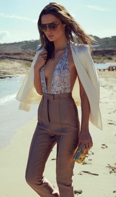 Try a hot-weather take on tailoring! A printed one-piece is the perfect starting point #DateNight #Ibiza #THEOUTNET