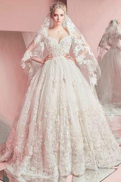 Stunning strapless ball gown wedding dress. Zuhair Murad, Spring 2016