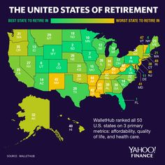 WalletHub compiled a list of the best and worst states for retirement, using weighted metrics of affordability, quality of life, and health care. Retirement Advice, Retirement Parties, Early Retirement, Retirement Planning, Retirement Strategies, Retirement Decorations, Best Places To Retire, Moving To Another State, Life Map