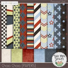 Choo Choo PAPERS. Digital Scrapbook Product at Gotta Pixel. www.gottapixel.net/