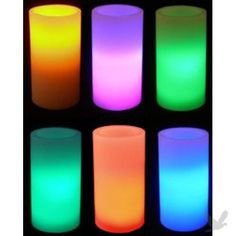 """Wax LED Pillar Candle (Flickering Amber, Color-Changing & Solid Color) - 6"""" Candle"""