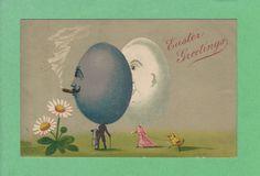 FANTASY EGG HEAD MAN & WOMAN, smoking CIGAR & walking CHICK on LEASH, sun FLOWER