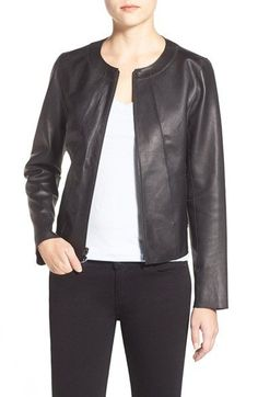 Nordstrom Jackets - Halogen® Collarless Leather Jacket (Regular & Petite) available at Collarless Leather Jacket, Leather Jacket Outfits, Nordstrom Jackets, Summer Wear, My Wardrobe, Cool Outfits, My Style, Casual, How To Wear