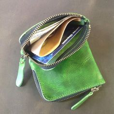 Green leather zippocket wallet by wolfram Lohr