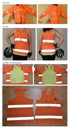 Hi-vis mining shirt from Good Sammy upcycled into a vest for cycling.