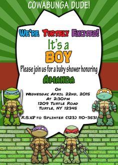 Printable Invitation Age Mutant Ninja Turtles By Atomdesign Invitations Baby Shower