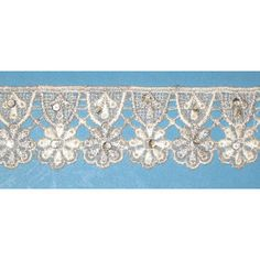 """Venise Lace 1 7/8"""" Ivory & Metallic Silver with Sequins per Yard - PATCHWORK PANDA LLC"""