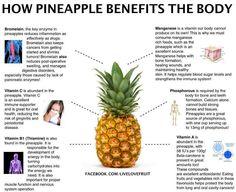 How pineapple benefits the body || Bromelain, Vitamin C, Vitamin B1 (Thiamine), Manganese, Phosphorous and Vitamin A
