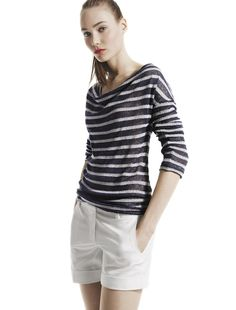 joe fresh stripe knit top and cuffed shorts