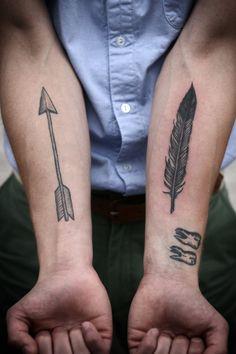 tattoo ideas, men tattoos, arrows, arm tattoos, tattoo patterns, a tattoo, feathers, tattoo ink, feather tattoos