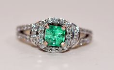 Gorgeous 2tcw Colombian Emerald & Diamond 14kt Yellow Gold Ring by rareestatefinds4u on Etsy