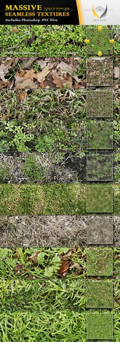 10 Seamless Grass Textures 2  #GraphicRiver         All 10 textures in this file have been designed at the massive resolution of 1500×1500px so that you can scale them all the way from close up detail of the content out to a fine repeating pattern.  The download itself contains;     10 full color jpg files    1 Photoshop PAT file including 10 patterns    A detailed help file for using the .PAT file in Photoshop   The textures can be used when designing;     Web pages    Twitter pages    3D…