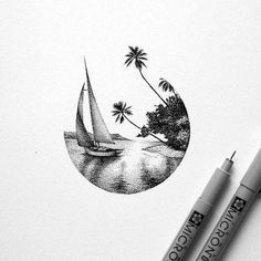 31 Ideas Simple Art Drawings Pencil Pens For 2019 Dotted Drawings, Cool Drawings, Stylo Art, Black Art Tattoo, Tattoo Art, Black Ink Art, Stippling Art, Desenho Tattoo, Landscape Drawings