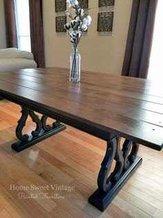 Farmhouse table refinished in General Finishes black pepper chalk style paint on the base and antique walnut gel stain for the new wood planks on top. Home Sweet Vintage Painted Furniture. Farmhouse Buffet, Farmhouse Dining Room Table, Dining Room Paint, Dinning Room Tables, Farmhouse Style Kitchen, Dining Room Design, Antique Dining Tables, Walnut Dining Table, Stained Table