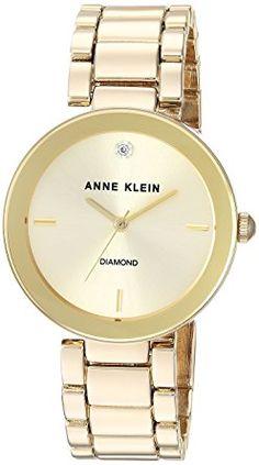 Anne Klein Women s AK 1362CHGB Diamond Dial Gold-Tone Bracelet Watch ec30e265584