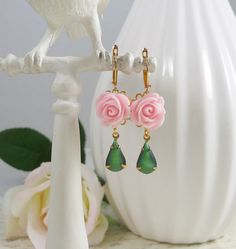 Earrings with Vintage Glass Gems and Pink Roses by IndulgedGirl, $16.00