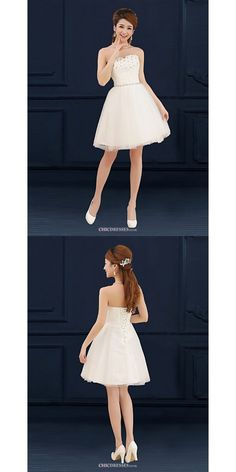 Short/Mini Tulle Bridesmaid Dress - Ivory A-line Sweetheart  #shortbridesmaiddress