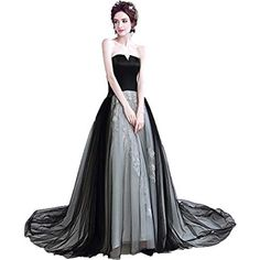 6593ad9928 Onlybridal Long Dresses Evening Women s Designer Lace Black Tulle Formal  Gown