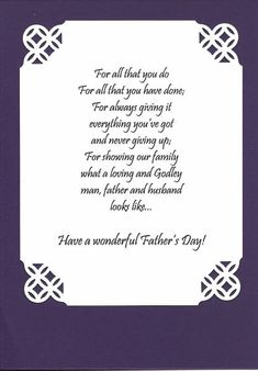This is the message I put inside the Father's Day card I made for my husband Larry.