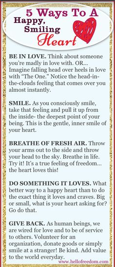 5 Ways To A Happy, Smiling Heart! (Just in time for Valentine's Day!) www.shainaleis.com
