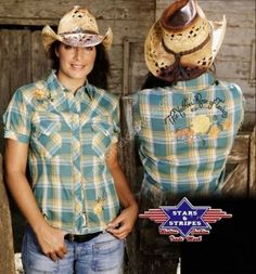 Corbeto's Boots | 50-TEXAS ROSE | Camisa vaquera Stars & Stripes cuadros verdes manga corta para mujer | Stars & Stripes womens green plaid short sleeves western shirt