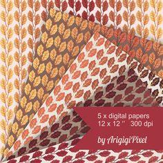 fall leaves digital patterned papers gradually by ArigigiPixel