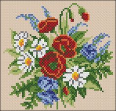 "Free cross-stitch pattern for pillow ""Wildflowers"" 