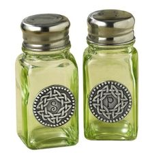 """Grasslands Road Celtic 3-3/4-Inch by 1-3/4-Inch Pewter Embellished Green Glass Salt And Pepper Set (799665732240) Gift boxed Glass/pewter with celtic knotting shakers read: """"S"""" and """"P"""""""