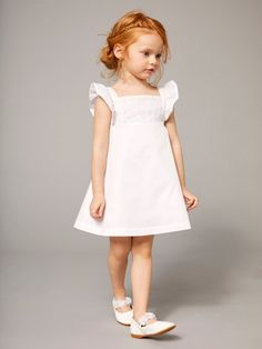 Girls' Sateen Dress with Embroidery - white light solid, Girls Girls Lace Dress, Little Girl Dresses, Baby Dress, Flower Girl Dresses, Ginger Girls, Cute Baby Pictures, Baby Kids Clothes, Summer Baby, Toddler Dress