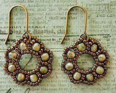 "FLORA EARRINGS   15/0 seed beads Miyuki ""Dark Bronze"" (15-457D)  3mm druks ""Champagne"" (Nirvana Beads)    Since I wasn't able to track do..."