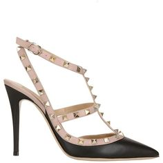 VALENTINO 100mm Rockstud Leather Pumps - Black ($945) ❤ liked on Polyvore featuring shoes, pumps, heels, scarpe, valentino, black leather pumps, adjustable shoes, genuine leather shoes, high heel pumps and black shoes