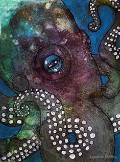 Octopus Garden II by Lynnette Shelley Octopus Painting, Jellyfish Painting, Octopus Wall Art, Whale Art, Painting & Drawing, Ink Pen Drawings, Tattoo Drawings, Tattoos, Alcohol Ink Painting
