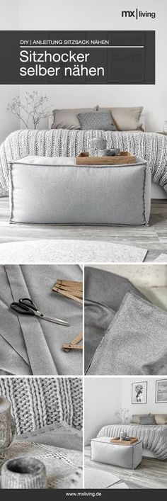 Ein selbst genähter Sitzhocker ist praktisch und auch noch schön. Die Nähanleitung findet Ihr auf dem Blog! #DIY #sitzsack #Selbermachen #nähanleitung #interior #sewing #Möbel