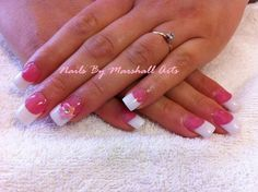Pink and white acylic nails with 3d flower nail art