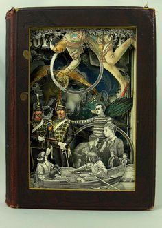 http://www.alexanderkorzerrobinson.co.uk/  UK-based artist Alexander Korzer-Robinson carves out spectacular storybook scenes from old books and encyclopedias. All images in the final work are seen from their original place in the book.