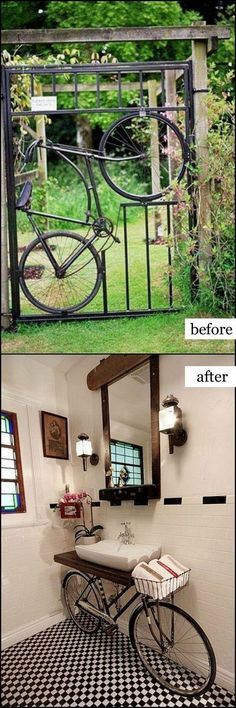 10 Repurpose Old Bicycle Parts Into Bathroom Vanity