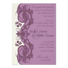 Elegant Scroll Wedding Invitation - Lavender - 1C