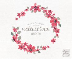 Watercolor wreath: 1 PNG floral wreath clipart / Wedding invitation clip art / commercial use / simple pink small flowers / CM0063i