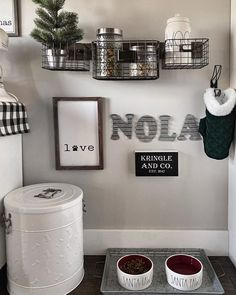 Nola asked that her puppy station be decorated for Christmas and how could I tell her cute furry little face no? Love my little Santa Paws. Dog Room Decor, Bedroom Decor, Dog Toy Storage, Dog Bedroom, Puppy Room, Pet Corner, Dog Spaces, Dog Area, Animal Room