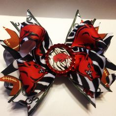 Arkansas razorback hairbow https://www.facebook.com/pages/Queenie-Maries-Designs/125188977507218