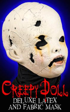 CREEPY DOLL DELUXE LATEX AND FABRIC MASK