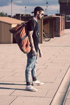 simple look jeans black t shirt cap overnight bag denim streetstyle fashion men tumblr